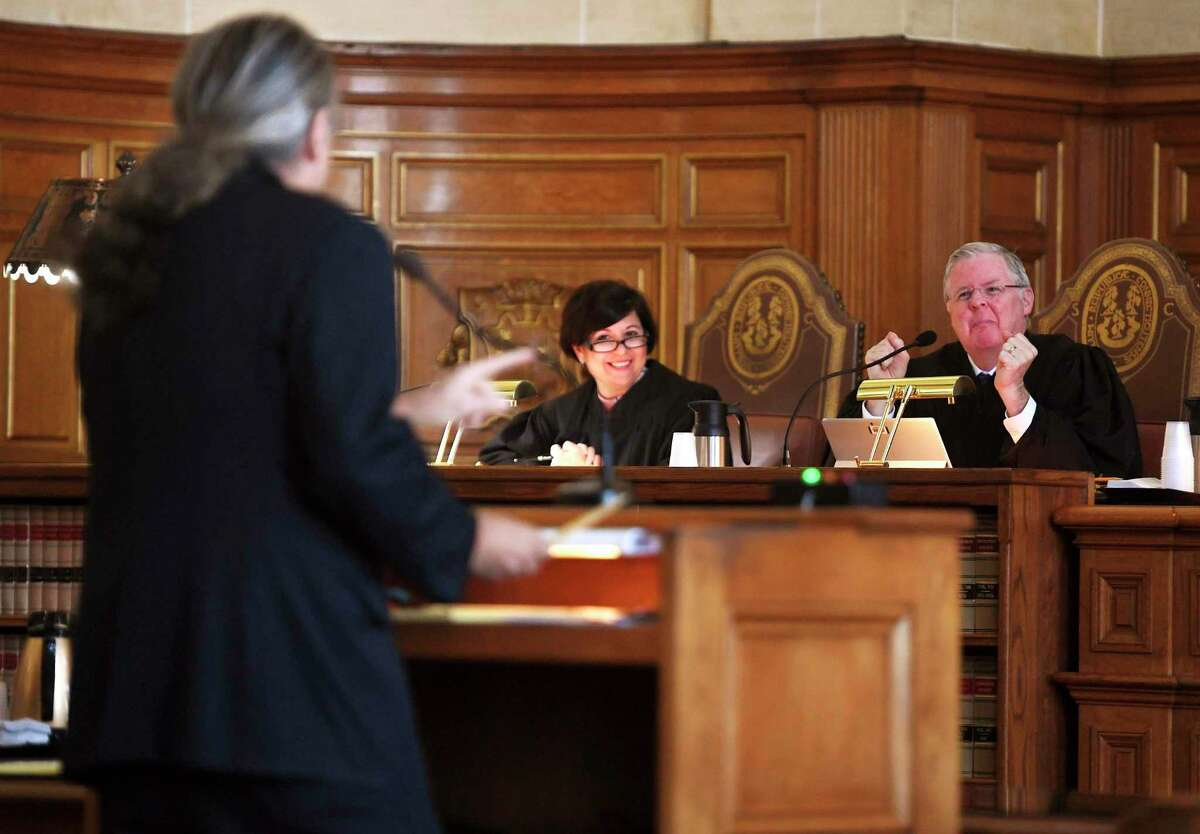 Norm Pattis, defense attorney for Fotis Dulos, argues to strike down the gag order imposed in the case in front of the Connecticut State Supreme Court on Dec. 12, 2019.