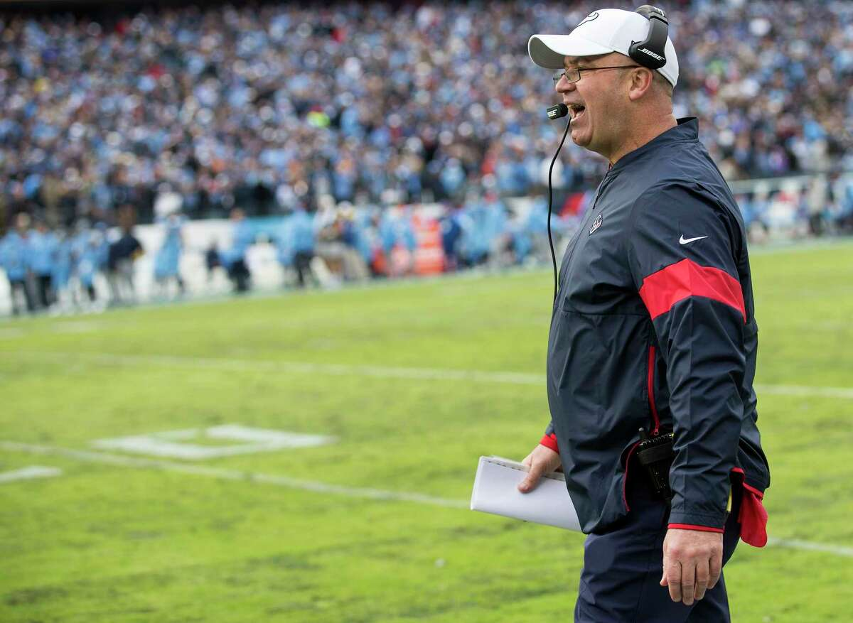 Houston Texans head coach Bill O'Brien argues a call during the fourth quarter of an NFL football game against the Tennessee Titans at Nissan Stadium on Sunday, Dec. 15, 2019, in Nashville.