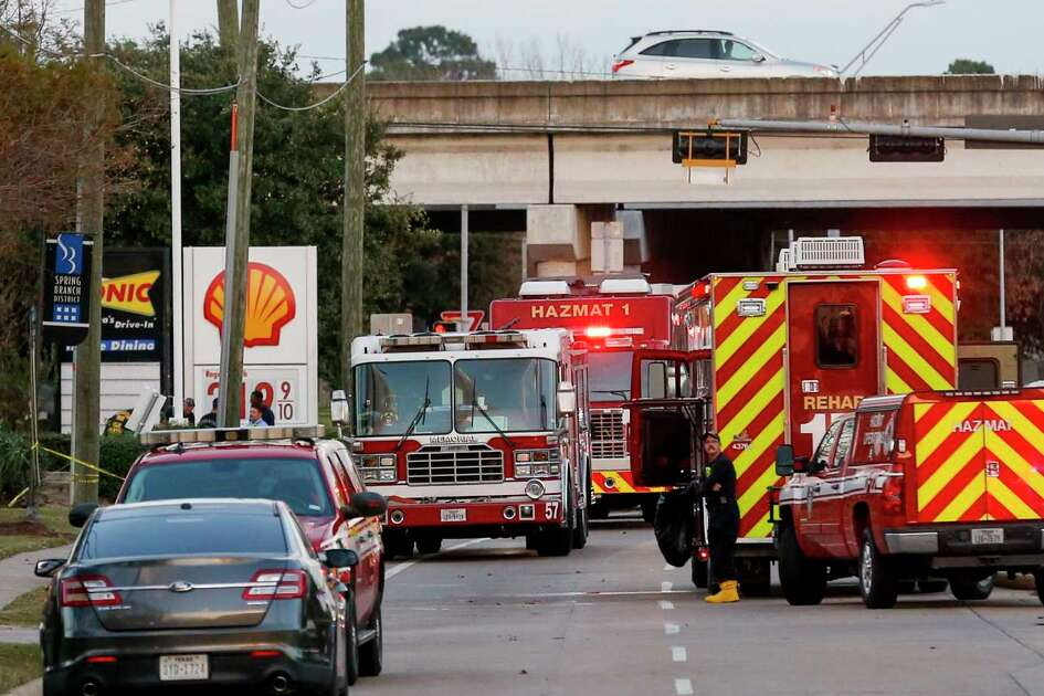 Officials responded to the scene of a mercury spill on the intersection of Westview Drive and West Sam Houston Parkway North Sunday, Dec. 15, 2019, in Houston.