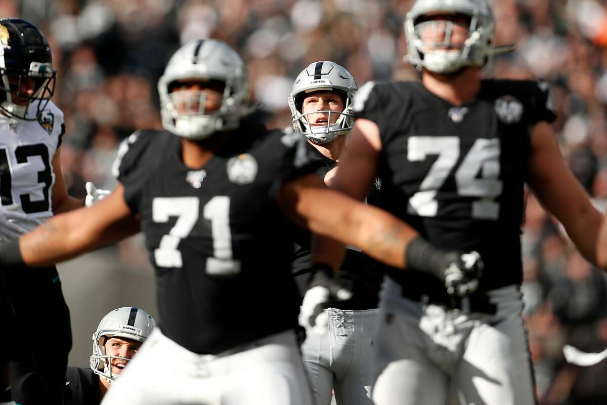 Oakland Raiders' Daniel Carlson watches his successful field goal in 1st quarter against Jacksonville Jaguars during NFL game at Oakland Coliseum in Oakland, Calif., on Sunday, December 15, 2019.