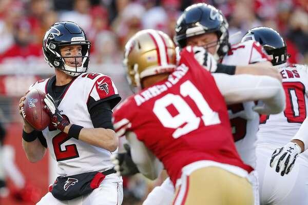 Atlanta Falcons quarterback Matt Ryan (2) passes against the San Francisco 49ers during the second half of an NFL football game in Santa Clara, Calif., Sunday, Dec. 15, 2019. (AP Photo/John Hefti)