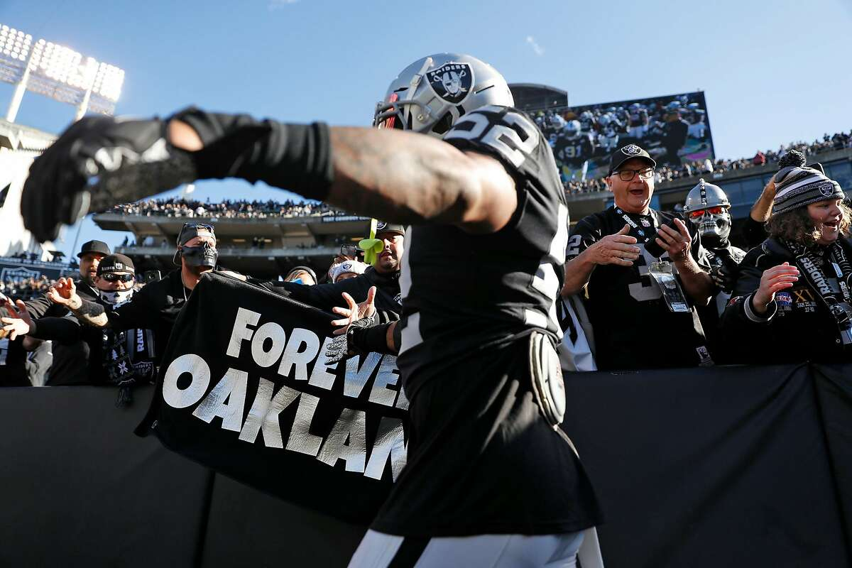 Oakland Raiders' Marquel Lee greets fans before Raiders' final home game at Oakland Coliseum in Oakland, Calif., on Sunday, December 15, 2019.The Raiders are leaving one of the most loyal fan bases in the business, says Caille Millner, and they may come to regret it.