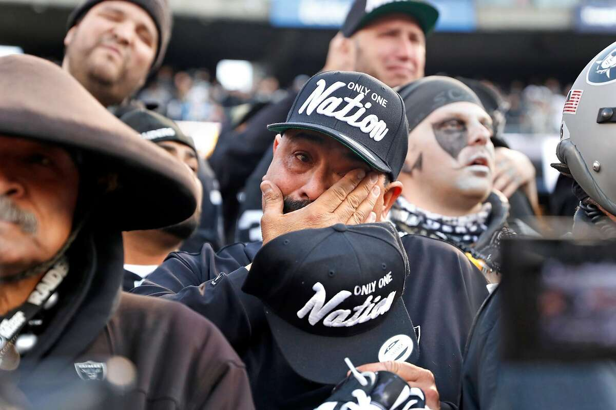 Oakland Raiders' fan Jesse Contrears cries after Jacksonville Jaguars' 20-16 win during Raiders' final game at Oakland Coliseum in Oakland, Calif., on Sunday, December 15, 2019.The Raiders are leaving one of the most loyal fan bases in the business, says Caille Millner, and they may come to regret it.