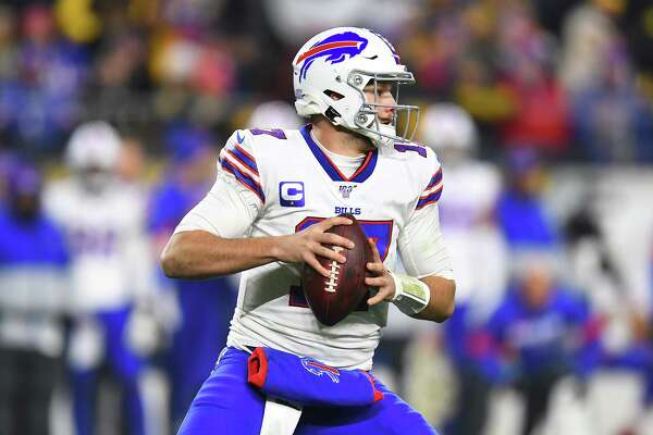 PITTSBURGH, PENNSYLVANIA - DECEMBER 15: Josh Allen #17 of the Buffalo Bills looks to pass during the first half against the Pittsburgh Steelers in the game at Heinz Field on December 15, 2019 in Pittsburgh, Pennsylvania. (Photo by Joe Sargent/Getty Images)