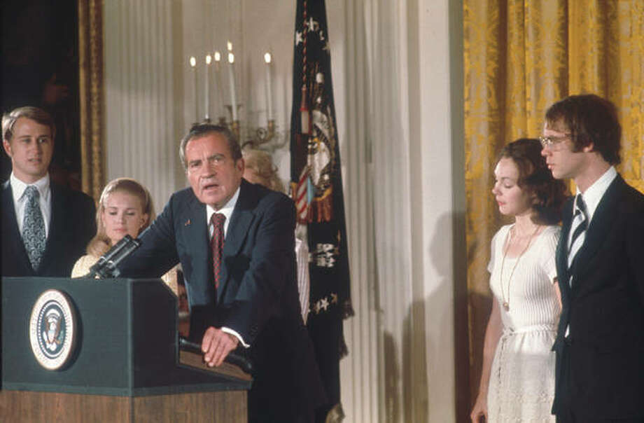 President Richard Nixon announces his resignation in August 1974. Photo: Dirck Halstead | Liaison