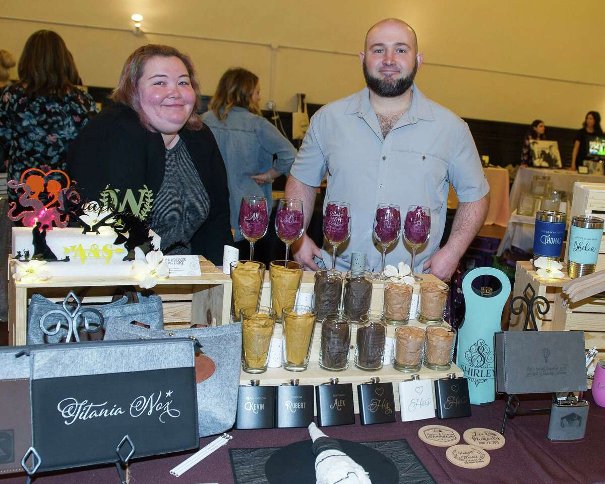 Melissa Batalin and Kurtis Albright, of the Carriage Factory, during a wedding market at the Takk House in Troy on Sunday, March 31, 2019. (Jim Franco/Special to the Times Union)