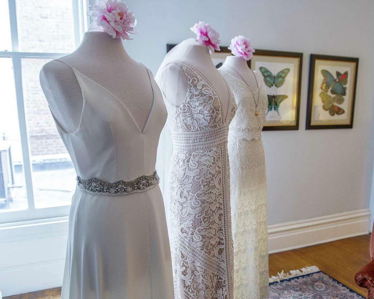 Wedding dresses on display during a wedding market at the Takk House in Troy on Sunday, March 31, 2019. (Jim Franco/Special to the Times Union)