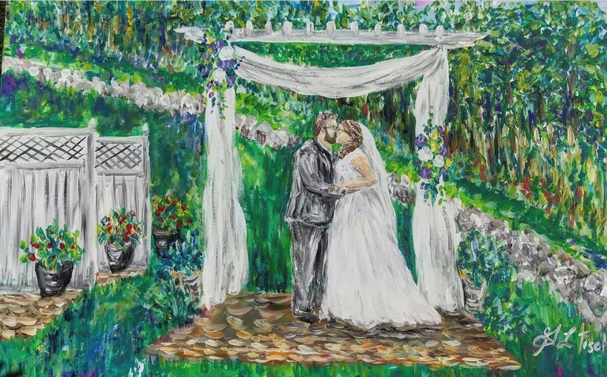 A wedding painting done by Gretchen Tisch, showing a scene at Longfellows in Saratoga Springs. (Provided)