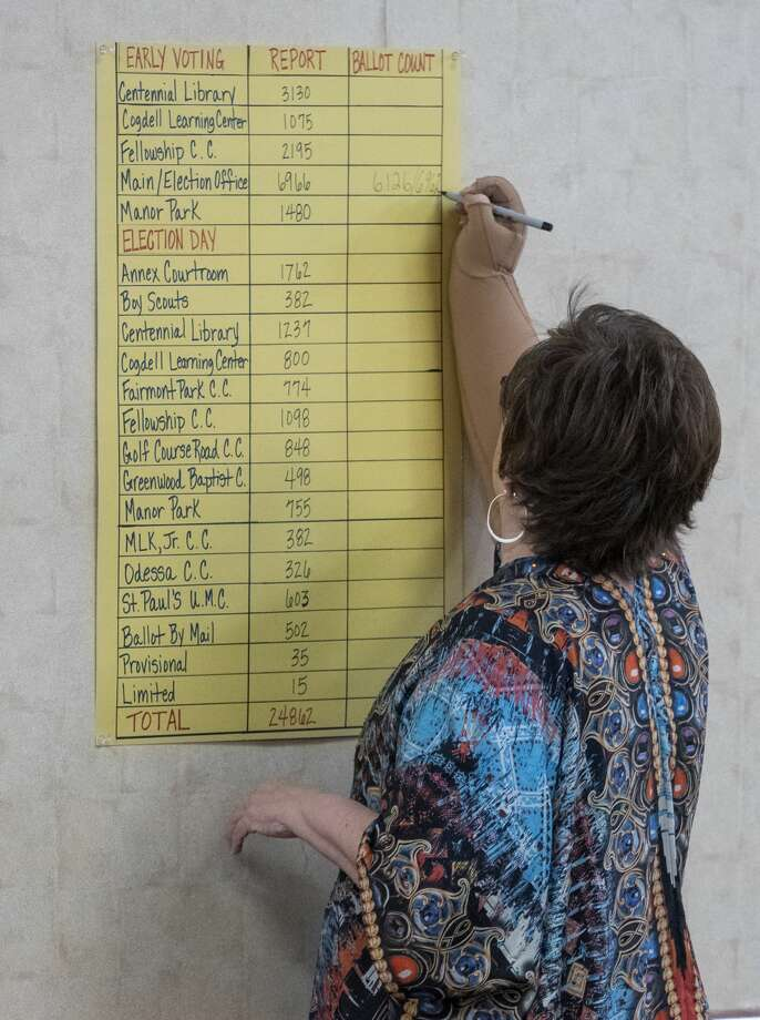 Election official Carolyn Graves writes the ballot count on the poster board 12/16/19 morning confirming the missing box held the missing 836 ballots. Tim Fischer/Reporter-Telegram Photo: Tim Fischer/Midland Reporter-Telegram
