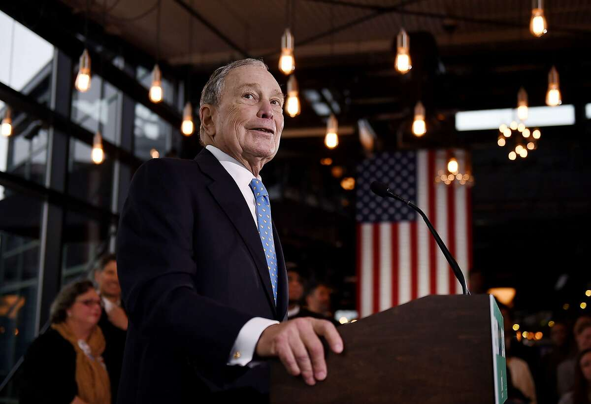 Former New York Mayor and Democratic presidential candidate Michael Bloomberg speaks about his plan for clean energy during a campaign event at the Blackwall Hitch restaurant in Alexandria, Virginia on December 13, 2019. (Photo by Olivier Douliery / AFP) (Photo by OLIVIER DOULIERY/AFP via Getty Images)