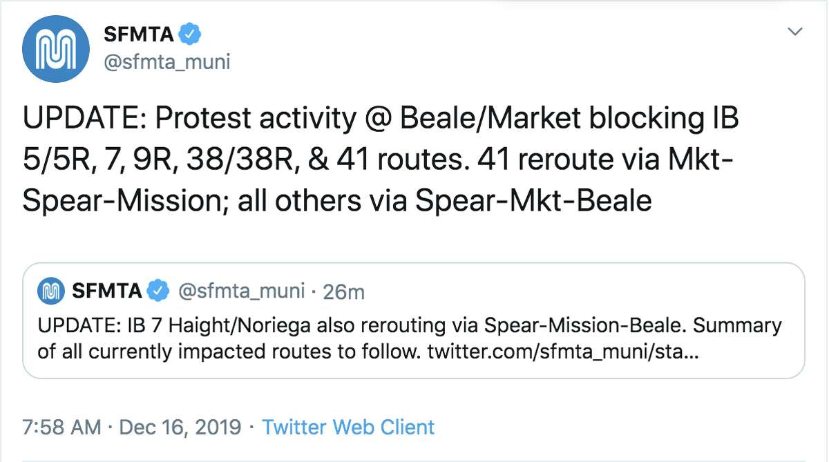 SFMTA re-reouted Muni buses Monday morning due to a protest in front of the PG&E corporate headquarters in Downtown San Francisco.