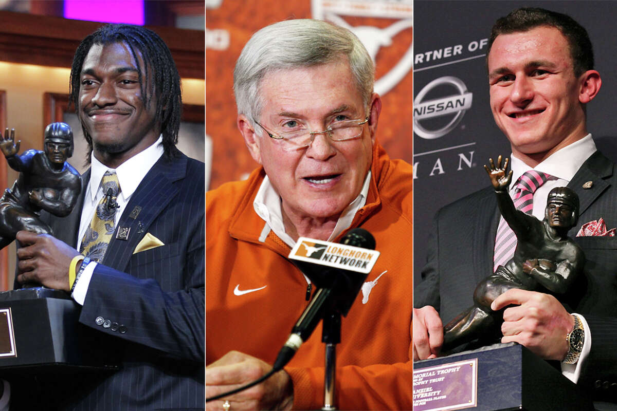 The 2010s saw Baylor's Robert Griffin III (left) and Texas A&M's Johnny Manziel win the Heisman Trophy in consecutive years while Mack Brown's long run at Texas came to an end with his successors struggling to maintain the standard he set.
