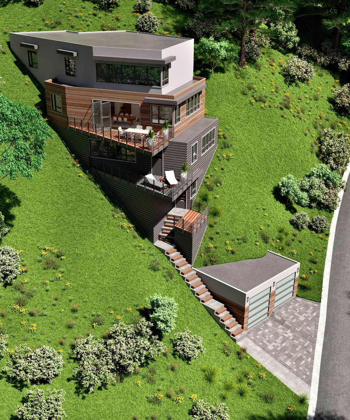 6881 Sobrante Road in Oakland is a .33-acre lot that includes approved plans for a hillside four-bedroom, four-bathroom contemporary conceptualized by designer and developer Nick Depratti.