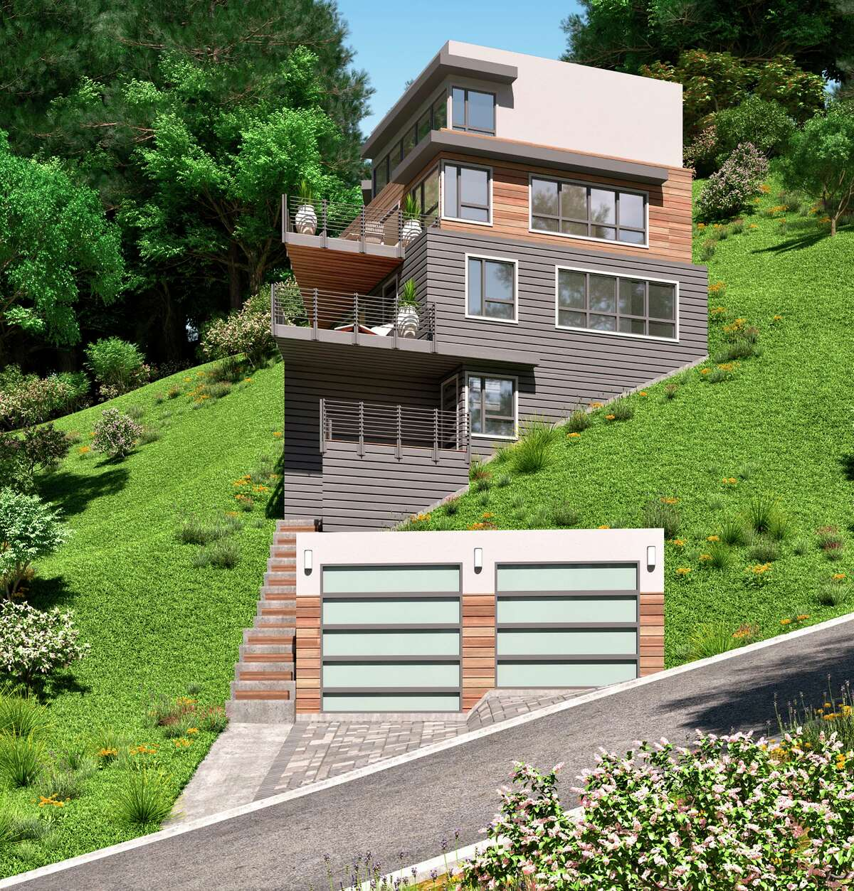 The land and approved architectural plans for the four-bedroom, four-bathroom contemporary at 6881 Sobrante Road in Oakland are available for $1.795 million.