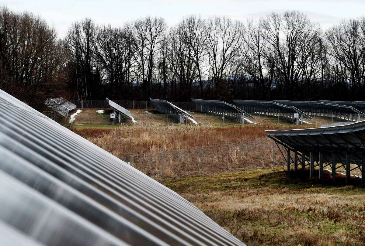 A public statement hearing will be held beginning at 5 p.m. Wednesday Jan. 15, 2020 at the Canajoharie Library on a proposed 529-acre solar generating facility in the Montogomery County towns of Canajoharie and Minden. Pictured is the ForeFront Power community solar farm in Halfmoon, N.Y., one of the largest community solar projects in upstate New York. It was officially opened on Monday, Dec. 16, 2019. (Will Waldron/Times Union)
