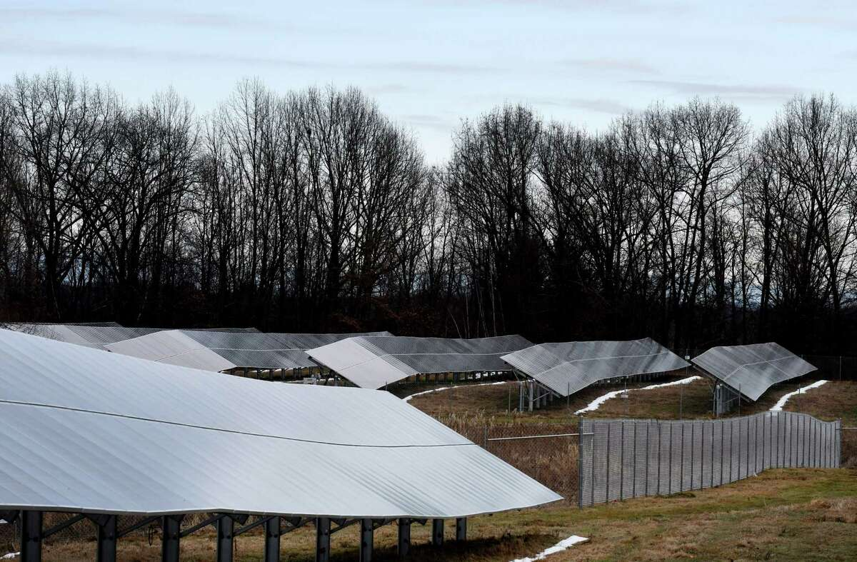 One of the largest community solar projects in upstate New York was officially opened on Monday, Dec. 16, 2019, in Halfmoon, N.Y. The ForeFront Power community solar farm is supported through Governor Andrew M. Cuomo?•s $1 billion NY-Sun initiative and will assist the State in meeting the governor's Green New Deal goal to obtain 70 percent of the state?•s electricity from renewable sources by 2030. (Will Waldron/Times Union)