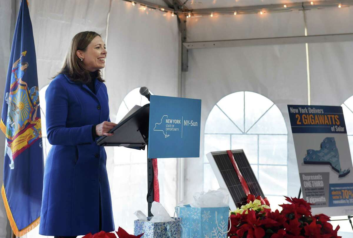 Alicia Barton, president and CEO of the New York State Energy Research and Development Authority (NYSERDA), speaks during a ribbon is cutting to open one of the largest community solar projects in upstate New York on Monday, Dec. 16, 2019, on Pruyn Hill Road in Halfmoon, N.Y. The ForeFront Power community solar farm is supported through Governor Andrew M. Cuomo?•s $1 billion NY-Sun initiative and will assist the State in meeting the governor's Green New Deal goal to obtain 70 percent of the state?•s electricity from renewable sources by 2030. (Will Waldron/Times Union)