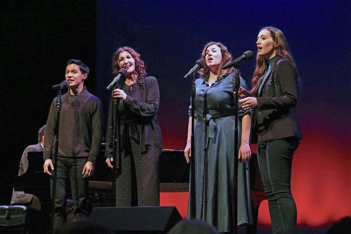"""The Moonstones, from left, Michael Protacio, Joanna Gleason, Christine Cornell, and Christiana Cole, perform at the Westport Country Playhouse's """"Winter at the Playhouse"""" benefit concert on Dec. 14, 2019, in Westport."""