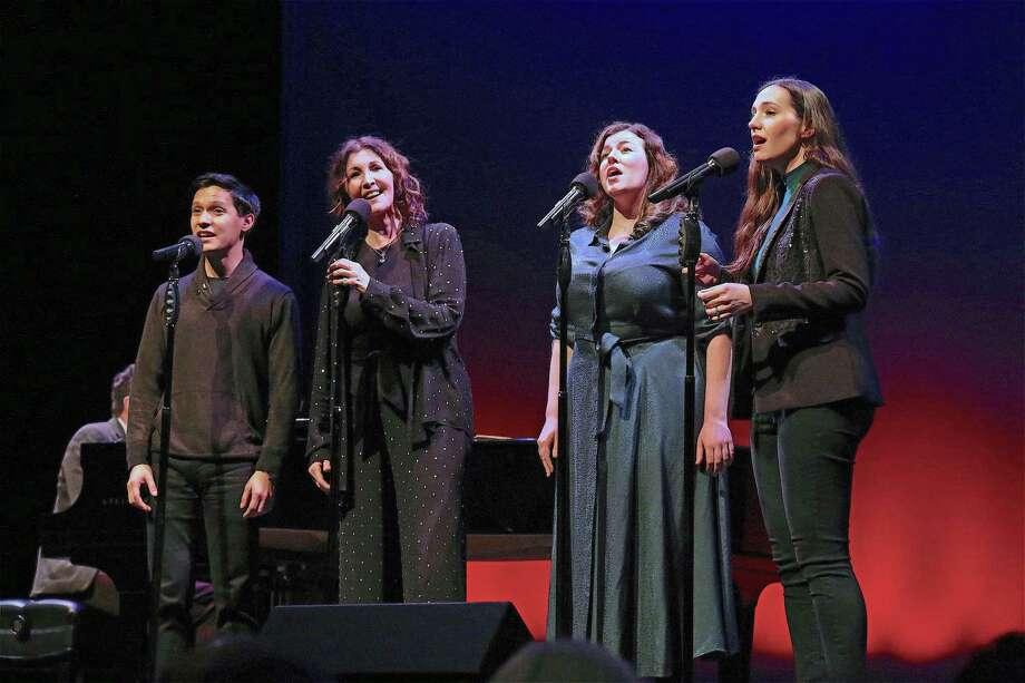 "The Moonstones, from left, Michael Protacio, Joanna Gleason, Christine Cornell, and Christiana Cole, perform at the Westport Country Playhouse's ""Winter at the Playhouse"" benefit concert on Dec. 14, 2019, in Westport. Photo: Jarret Liotta / For Hearst Connecticut Media / Jarret Liotta / ©Jarret Liotta"