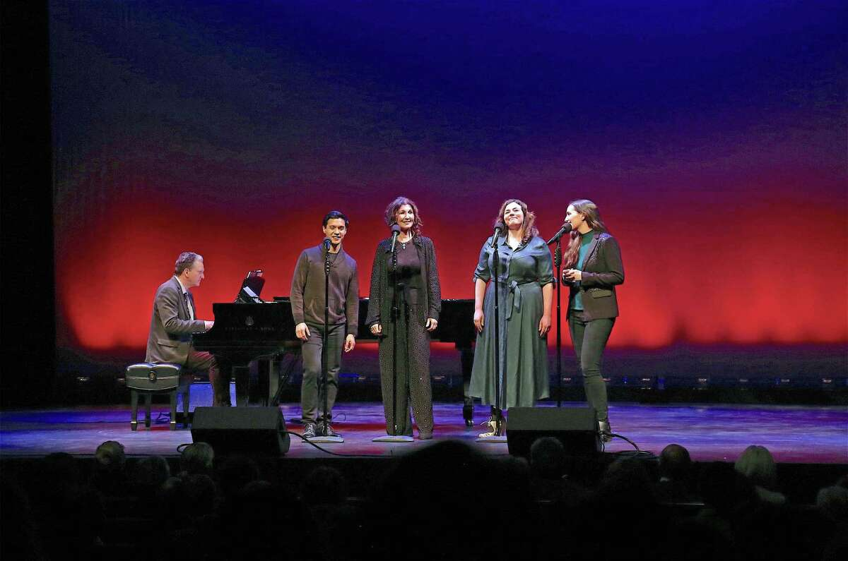 """Tony Award winner Joanna Gleason, at center, led the performance with her group the Moonstones at the Westport Country Playhouse's """"Winter at the Playhouse"""" benefit concert on Dec. 14, 2019, in Westport."""