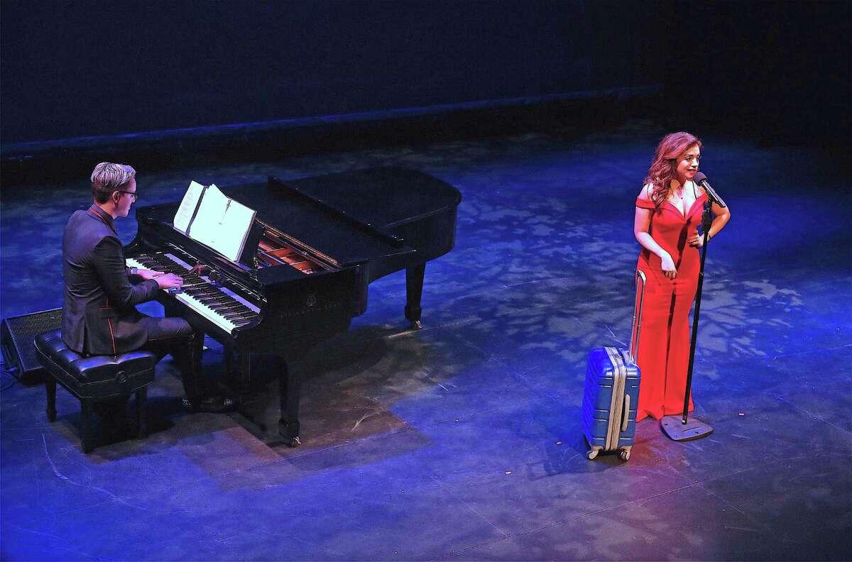 "Sandra Marate sings ""Hanukkah in Santa Monica"" at the Westport Country Playhouse's ""Winter at the Playhouse"" benefit concert on Dec. 14, 2019, in Westport."