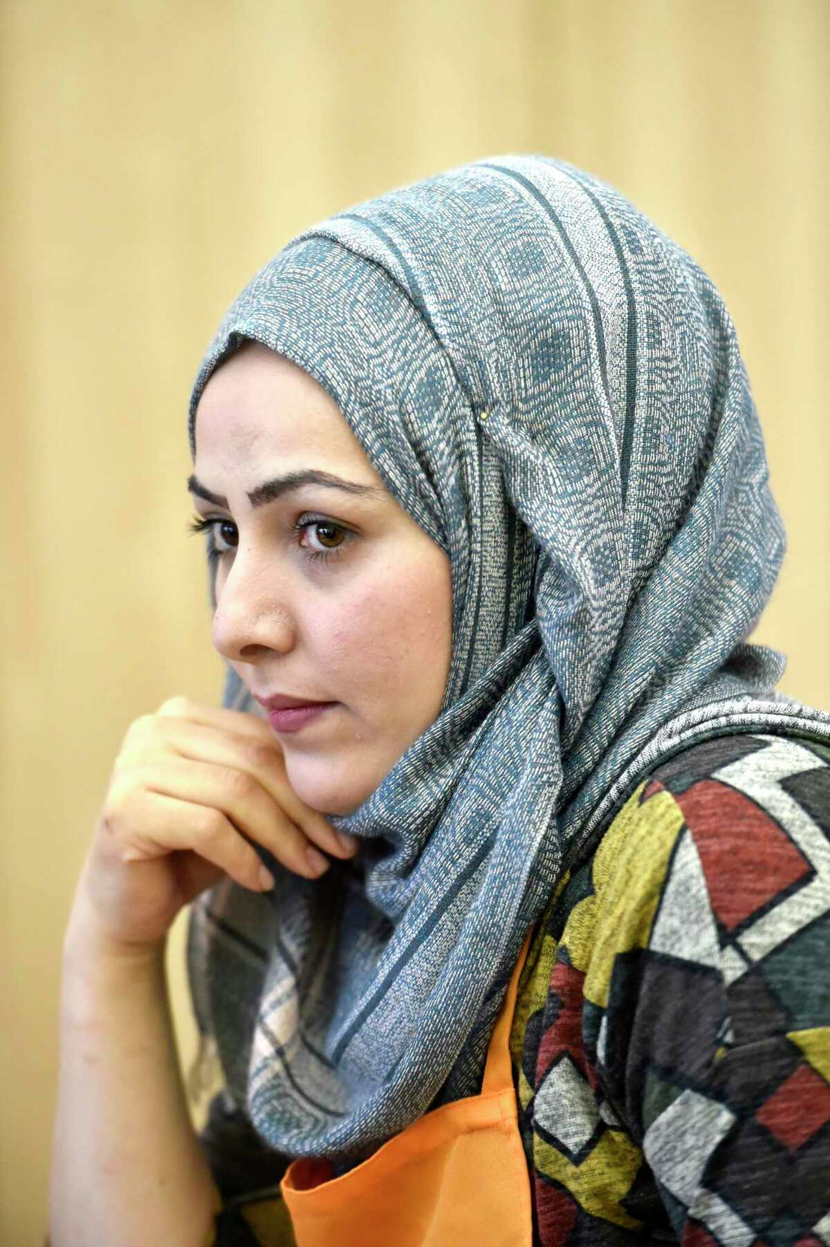 Sanctuary Kitchen at City Seed Chef Aminah Alsaleh, 31, shown in this photo taken Oct. 9, is a refugee from Homs, Syria. She resettled in New Haven in 2016 with her husband and three children. In 2012, Aminah fled the war in Syria with her family and walked to Jordan with nothing but clothes on their back. Aminah is in the process of starting up her catering business to help support her family.