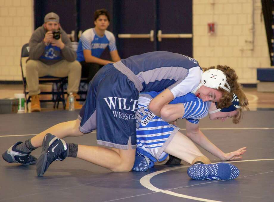 Max Mannino was one of five Wilton wrestlers who placed at the Mike O'Keefe Holiday Invitational. Photo: Gretchen McMahon / For Hearst Connecticut Media