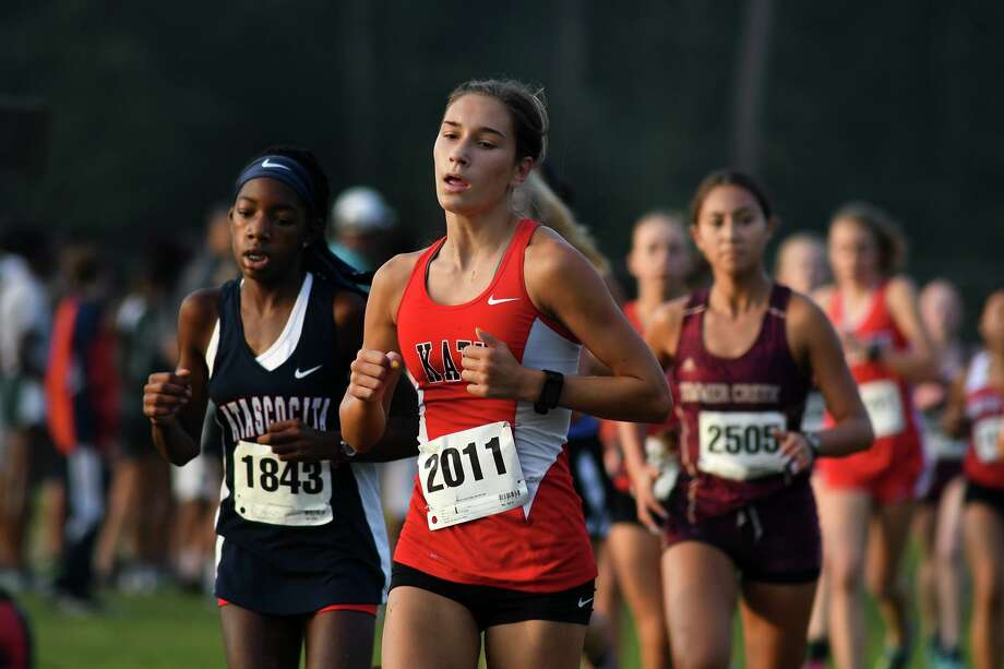 Katy's Olivia Einarsson (2011) competes in the Varsity Girls 5K race at the Andy Wells Invitational at Atascocita High School on Sept. 16, 2017. (Photo by Jerry Baker) Photo: Jerry Baker, Freelance / For The Chronicle / Freelance