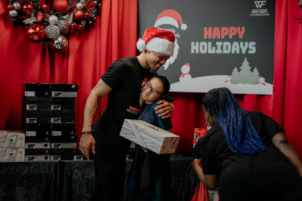 The Houston Rockets' Russell Westbrook threw a holiday party for more than 300 children on Sunday, Dec. 15, 2019 at Emancipation Park.