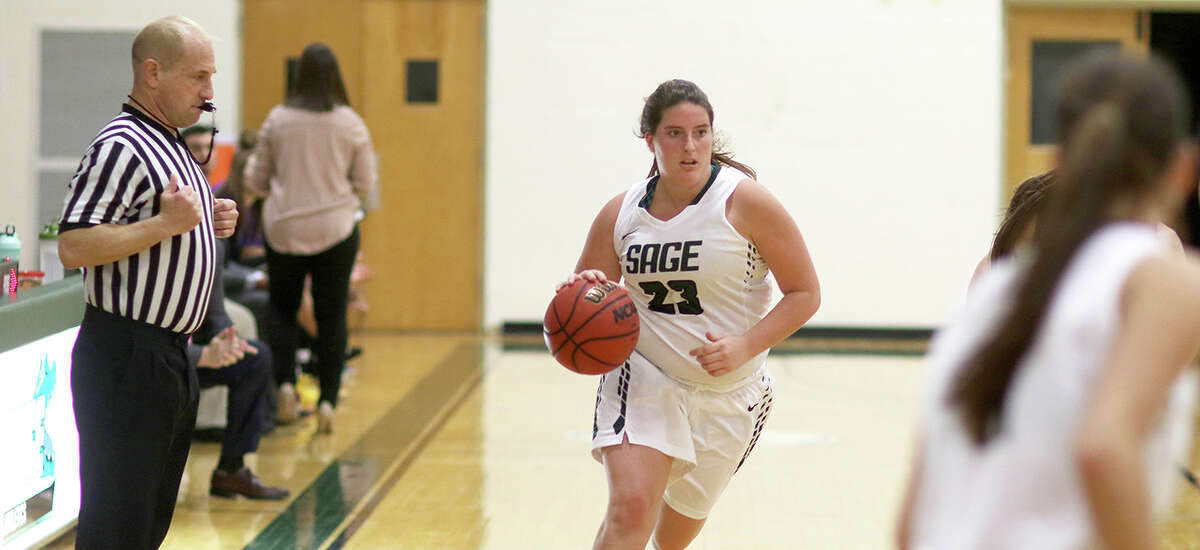 Lansingburgh High School graduate Gessica Patregnani of the Sage women's basketball team. (Courtesy of Sage Athletic Department)