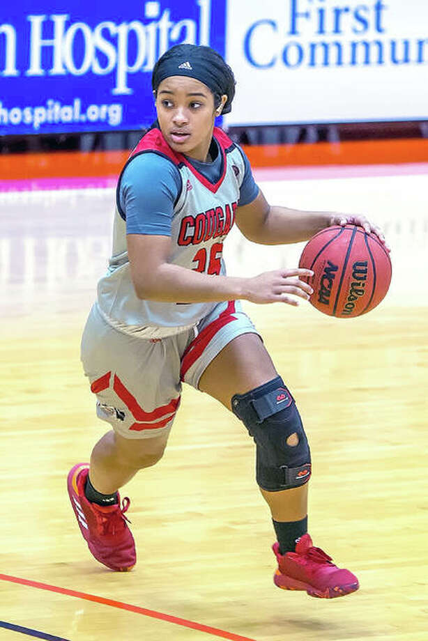 SIUE's Mikalah Hall scored nine points Monday in SIUE's loss at Illinois state. She is shown in action earier this season against Loyola. Photo: Scott Kane, SIUE | For The Telegraph