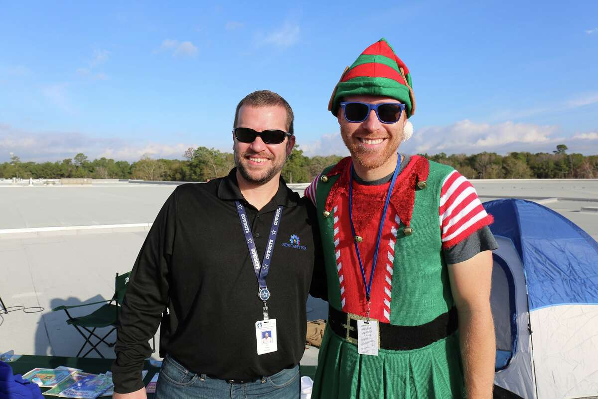 New Caney High School Associate Principal Jonathan Powell bet his students he would spend a night on the roof of their school if they raised at least $1,000 for families in need this Christmas.