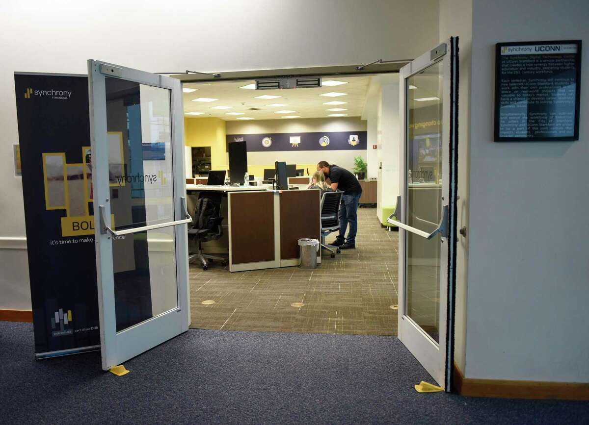 The new Synchrony Digital Technology Center at the University of Connecticut Stamford branch in Stamford, Conn. Monday, Dec. 16, 2019. Synchrony not only opened a Digital Technology Center at UConn Stamford on Monday, but also announced a donation of $1 million to UConn's new free tuition program.