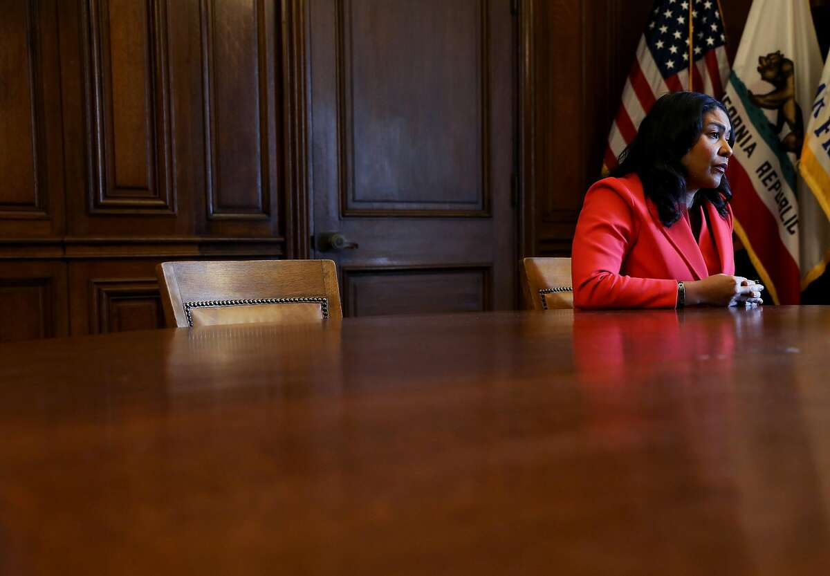 Mayor London Breed answers a question from Chronicle reporter Heather Knight during an interview at City Hall in San Francisco, Calif., onTuesday, February 5, 2019.