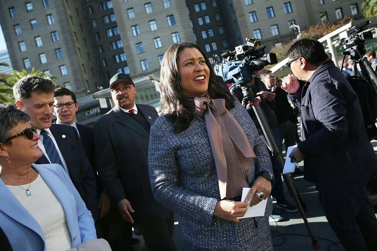 Mayor London Breed arrives at press conference at Union Square before speaking on Monday, December 16, 2019 in San Francisco, Calif.
