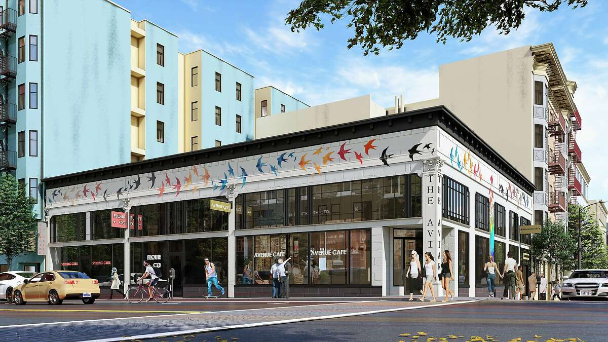 A rendering of the Aviary, an upcoming development housing restaurants at 499 Ellis St., San Francisco. A new location of Azalina's is the first tenant.