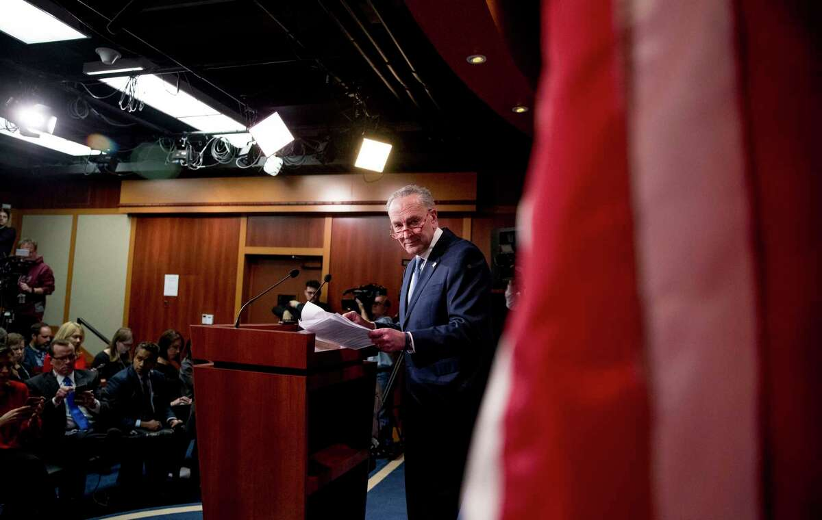Senate Minority Leader Sen. Chuck Schumer of N.Y., leaves after speaking at a news conference, Monday, Dec. 16, 2019, on Capitol Hill in Washington.