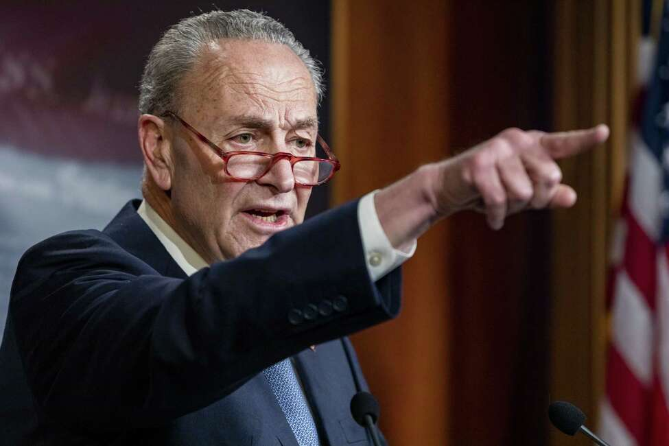 WASHINGTON, DC - DECEMBER 16: Senate Minority Leader Chuck Schumer (D-N.Y.) holds a press conference at the U.S. Capitol on December 16, 2019 in Washington, DC. Sen. Schumer criticized Majority Leader Mitch McConnell (R-Ky.) about his plans for the Impeachment trial of President Donald Trump if it passes in the House of Representatives during the press conference.