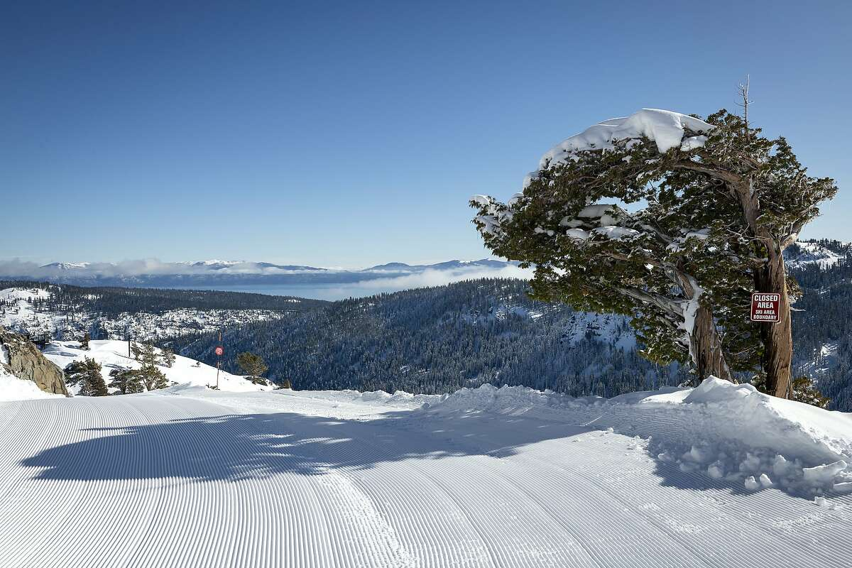 Newly opened terrain and fresh groom corduroy run on a bluebird day Monday from KT-22 at Squaw Valley
