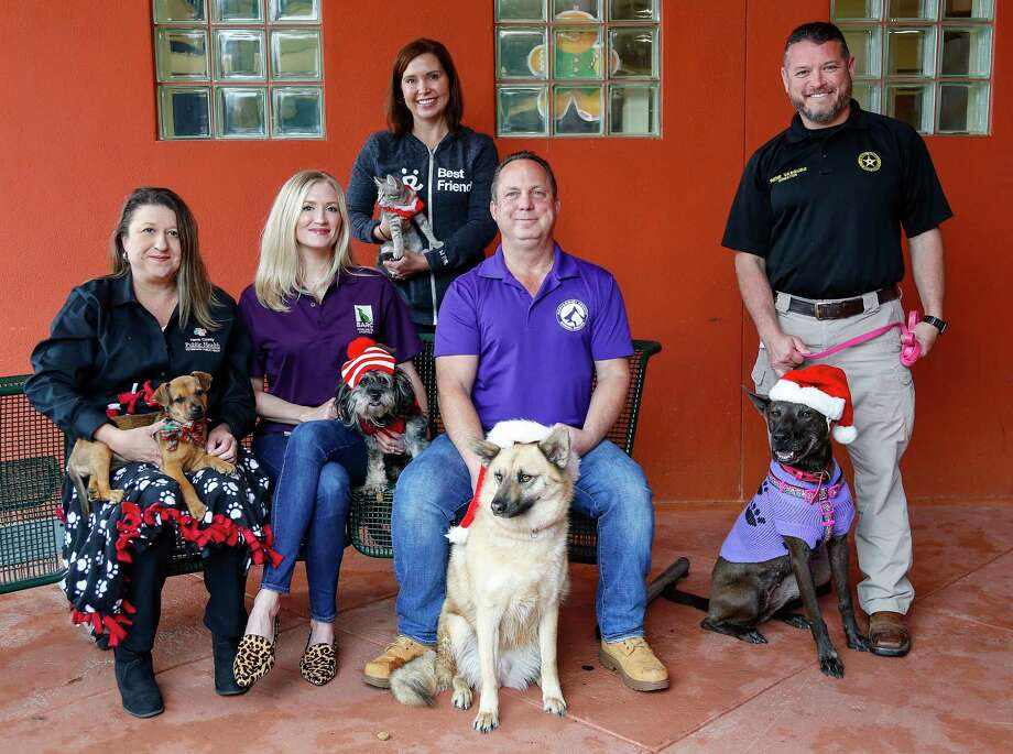 "Danielle Macicek, of Harris County Animal Shelter; Adriane Fadely of BARC;  Kerry McKeel of Best Friends Animal Society; Mark Wysocki of Montgomery County Animal Shelter; and Rene Vasquez of Ft. Bend County Animal Shelter are the representatives from five local Houston-area animal shelters, Monday, Dec. 16, 2019, in Houston.  The shelters are participating in a holiday adoption/foster event that Best Friends is initiating in collaboration with BARC, Harris County Animal Shelter, Montgomery County Animal Shelter and Fort Bend Animal Services Center. The local shelters typically see an uptick in animal intake right before holidays. Yet, the holidays are also a popular time for people to acquire a pet. So, in this season of giving we are urging the community to be ""wish granters"" for the hundreds of animals waiting in our local animal shelters for their second chance.  ""Holiday Wishes for Shelter Pets"" will be held December 21-22 with the shared goal to place as many animals possible in adoptive or foster homes for the holidays. Adoption fees for dogs have been reduced to $20 and for cats $10 (Additional discounts may apply at some participating shelters) and include spay, neuter microchip and vaccines. Visitors will also be invited to enjoy complimentary hot chocolate, cookies, make commemorative pawprint ornaments and cards. Each adopted pet will also receive a festive holiday keepsake bandana. The adoption/foster event will take place at each shelter during their normal operating hours. Photo: Karen Warren, Staff Photographer / © 2019 Houston Chronicle"