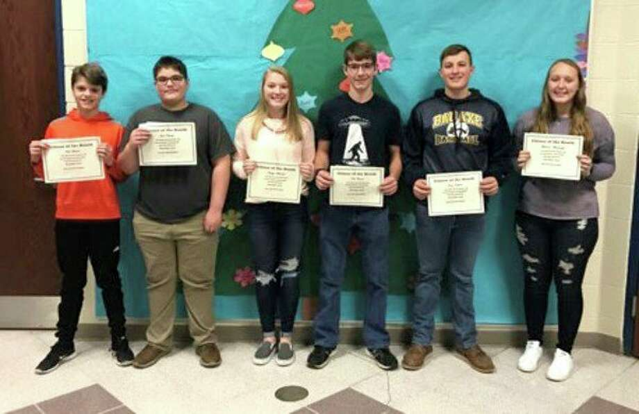 Bad Axe High School students named December Citizens of the Month are Grade 12 Brianna Wisenbaugh; Grade 11 Reece Rapson; Grade 10 Nicholas Clarent; Grade 9 Katelyn Meinhold; Grade 8 Jack Kubacki and Grade 7 Nick Himmel. (Submitted Photo)