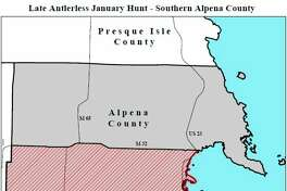 A late antlerless firearm deer hunt is open on private land in southern Alpena County Jan. 2-5 and Jan. 9-12. This map shows the area open to hunting. (Courtesy photo/Michigan DNR)
