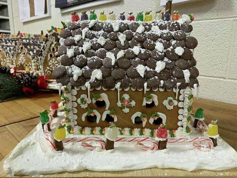 Gingerbread houses crafted by chef Kerry Buzzell are on display at each Benzie Central school building and will be raffled off to support BACN. (Submitted photo)