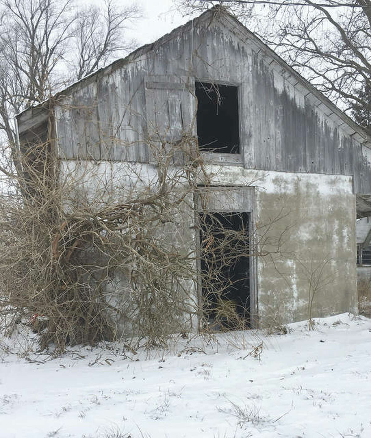 Snow surrounds an old barn in Morgan County.