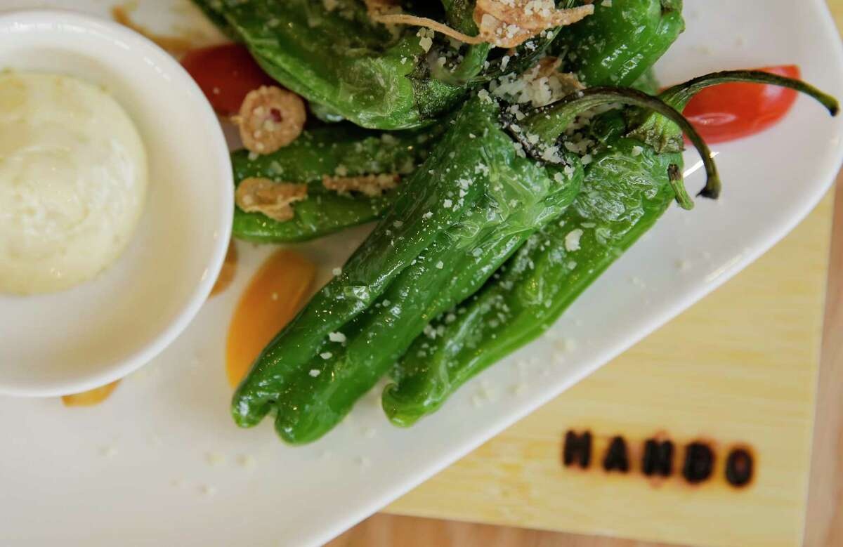 Shishito peppers with a yuzu aioli at Hando, a new 22-seat hand roll sushi bar opening in the Heights this week.