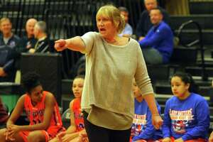 Danbury Head Coach Jackie DiNardo during FCIAC basketball semi-final action against Norwalk in Trumbull Tuesday Feb. 19.