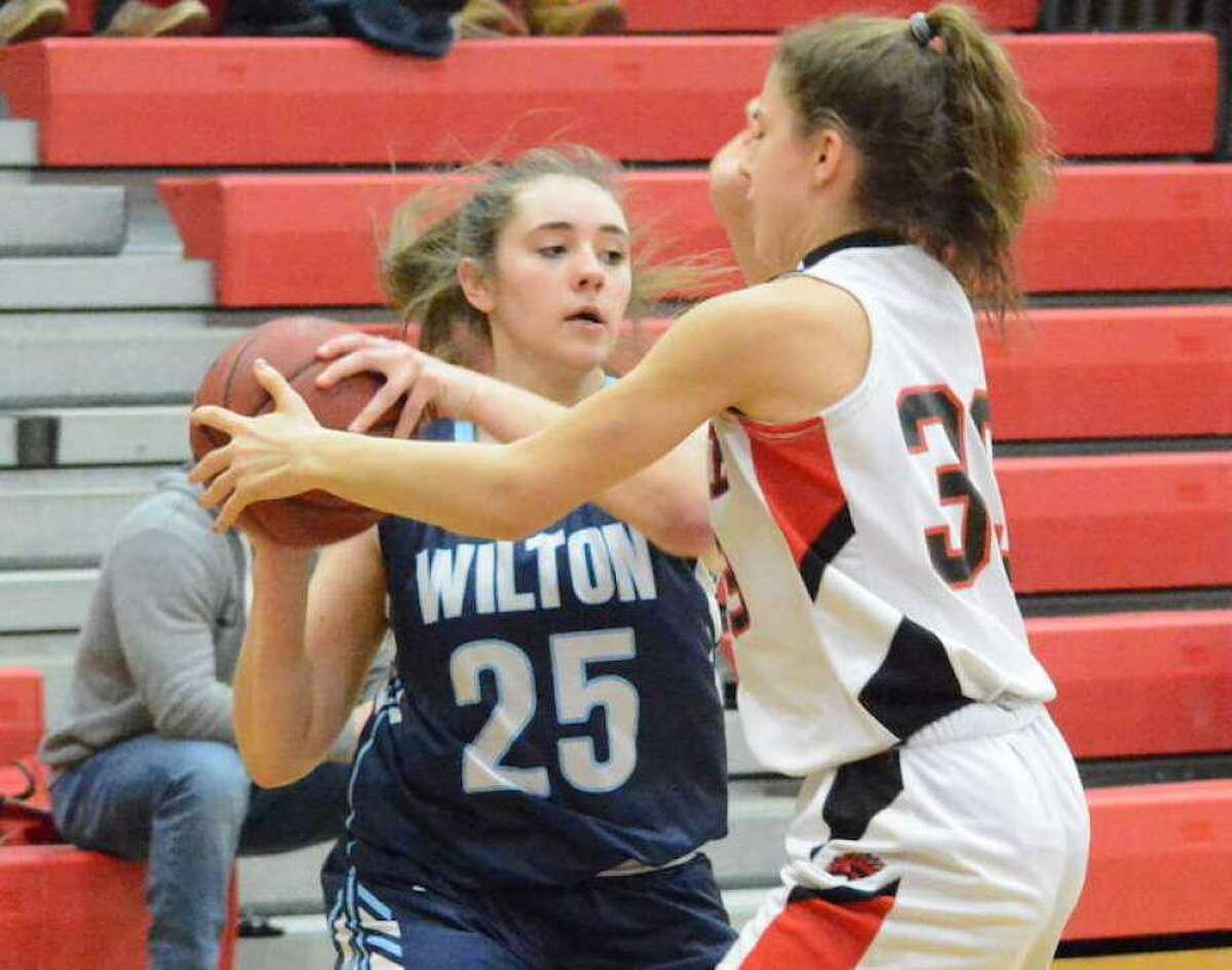 Riley Eaton (shown last season) contributed 10 points as the Wilton girls basketball team defeated Weston on Monday night.