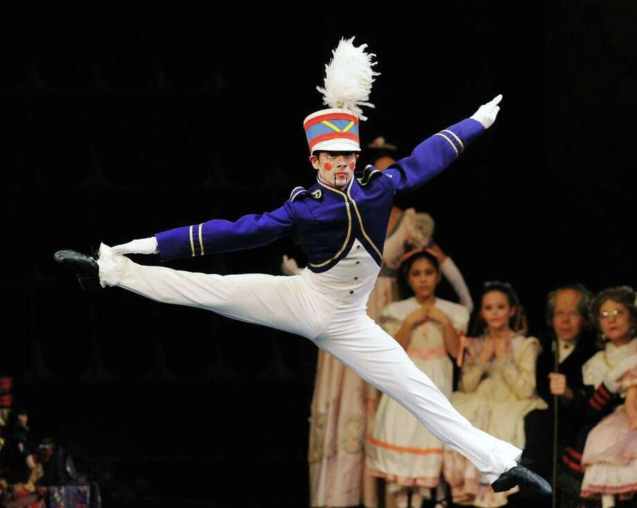 Alejandro Ulloa in action as a soldier doll during the Connecticut Ballet dress rehearsal performance of The Nutcracker at the Palace Theatre in Stamford, Conn., Friday night, Dec. 16, 2016. The Connecticut Ballet will be performing The Nutcracker at The Palace/Stamford on Saturday, December 17 at 2:00pm and 6:00pm and Sunday, December 18 at 1:00pm and 5:00pm. Photo: Bob Luckey Jr. / Hearst Connecticut Media / Greenwich Time