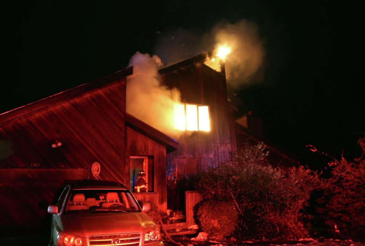 The scene of the fire on Fox Hollow Road in Brewster, N.Y., the night of Dec. 13, 2019.