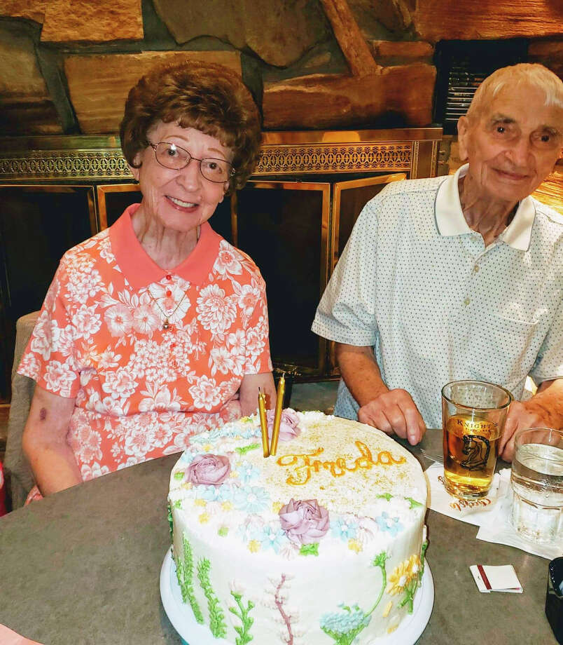 This June 2019 photo provided by Leah Smith shows Les and Freda Austin of Jackson, Michigan, pose for a photo at a birthday party. The Michigan couple, who family members say did everything together for 70 years up to their final breaths, died 20 minutes apart in the same hospice care on Dec. 6, MLive.com reports. Photo:  (Leah Smith Via AP)